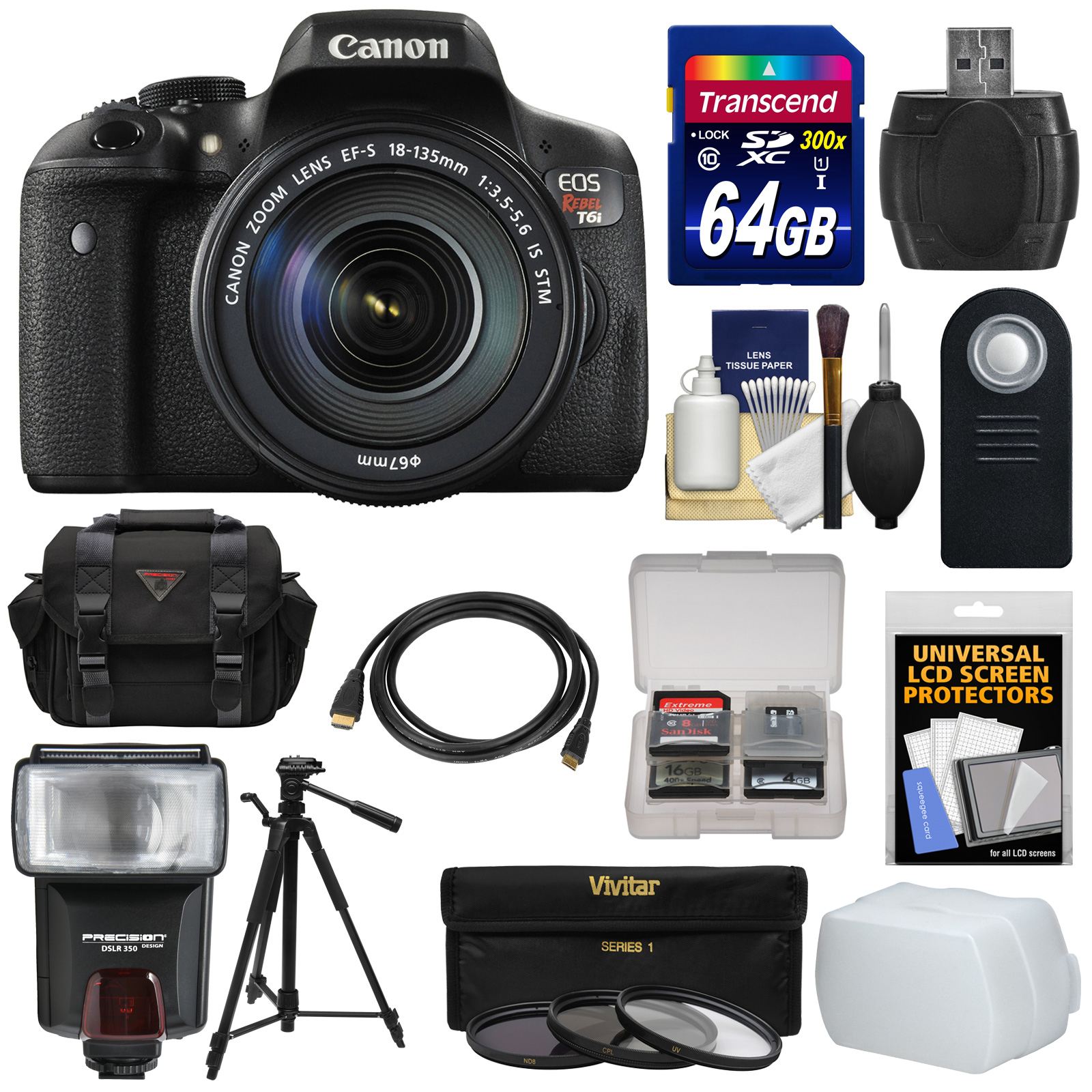 Canon EOS Rebel T6i Wi-Fi Digital SLR Camera & EF-S 18-135mm IS STM Lens with 64GB Card + Case + Tripod +... by Canon