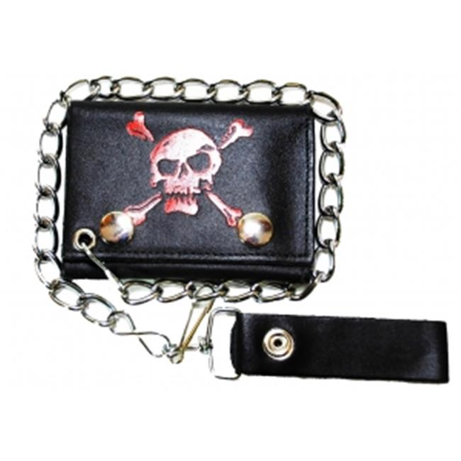 Leather In Chicago LICWB4-SK-02 Trifold Chain Wallet 4. 5 x 3 inch Pirate Skull Red