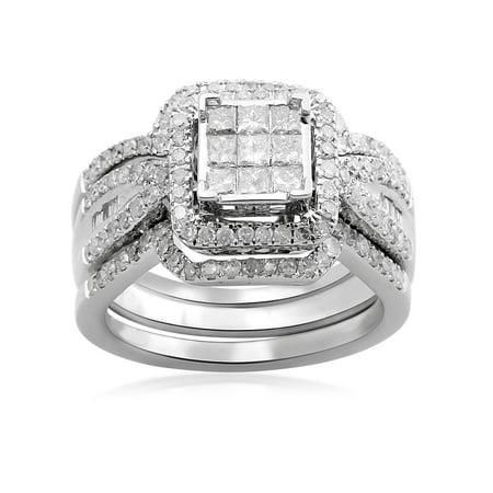 1 Carat T.W. Baguette, Princess and Round Diamond 10kt White Gold Bridal