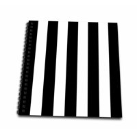 3dRose Black and White Stripes Pattern - vertical striped stripy stripey stripe retro traditional classic - Mini Notepad, 4 by 4-inch