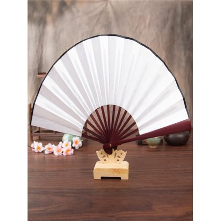OkrayDirect Hand Held Chinese Floral Lace Silk Folding Fan Unisex Wedding Dancing Party (Alpine White China)