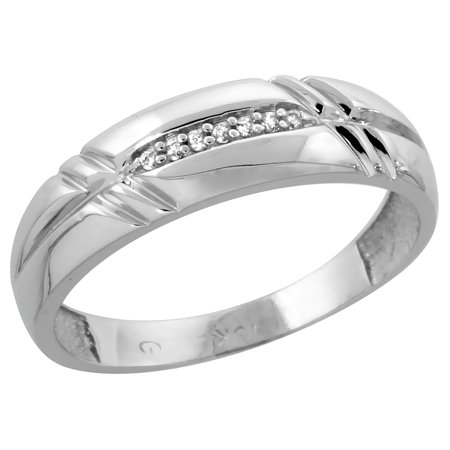10k White Gold Men's Diamond Wedding Band Ring 1/4 inch wide Size 13 Wide Diamond Band