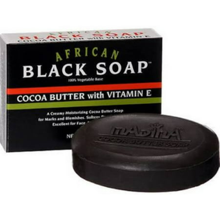 Black Soap Cocoa Butter (Madina African Black Soap Cocoa Butter with Vitamin E, 3.5)