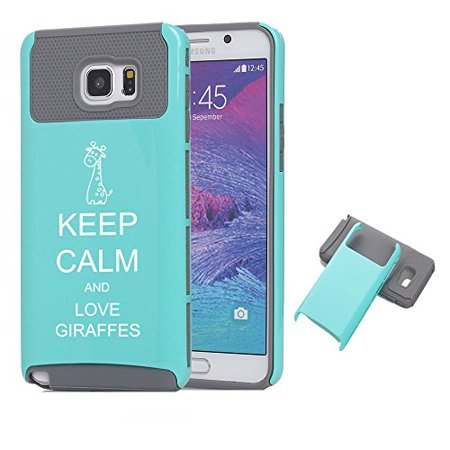 Giraffe Folded Note - Samsung Galaxy Note 5 Shockproof Impact Hard Case Cover Keep Calm and Love Giraffes (Teal-Grey),MIP