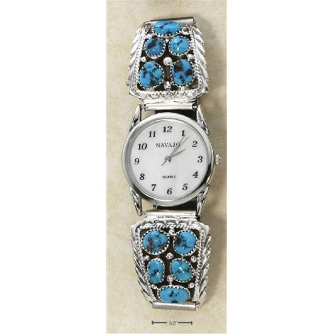 Plum Island Silver WA-069 Sterling Silver Mens Southwest Watch with Turquoise Nugget Tips on Stretch Band