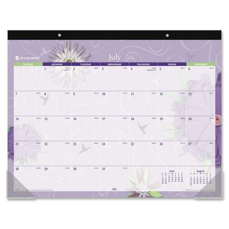 At-A-Glance Paper Flowers Academic Calendar Desk Pad - Julian - Monthly - July 2017 till July 2018 - Dark Blue - Paper, Poly Academic Desk Pad Calendar