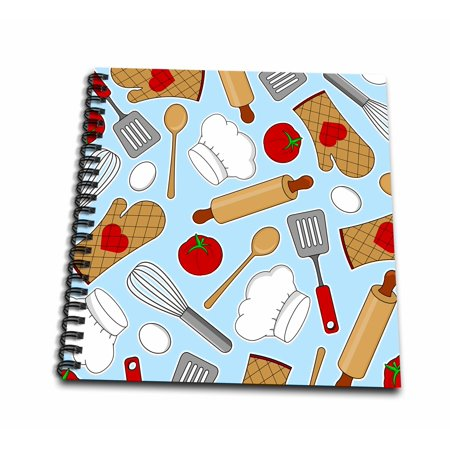 3dRose Cute Chef or Cook Love Pattern in Blue - Drawing Book, 8 by 8-inch