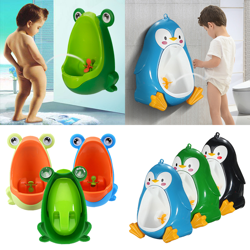 Cute Frog Penguin Kids Children Potty Training Urinal Toilet Urine Train Froggy Potty for Children Kids Toddler Baby Boys Portable Plastic Male Urinals Pee Trainer Funny Aiming Tar