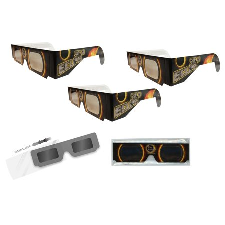 Solar Eclipse Glasses - 3 Pairs Sleeved - SOLAR FIRE - ISO Certified, CE Approved- - Solar