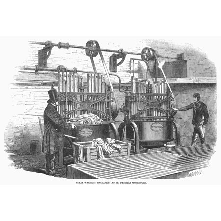 Washing Machine  1857. Nsteam Washing Machine At St. Pancras Workhouse In London. Wood Engraving  English  1857. Print Washing Machine  1857. /Nsteam Washing Machine At St. Pancras Workhouse In London. Wood Engraving  English  1857. was reproduced on Premium Heavy Stock Paper which captures all of the vivid colors and details of the original. The overall paper size is 18.00 x 24.00 inches and the image size is 18.00 x 24.00 inches. This print is ready for hanging or framing.  Brand New and Rolled and ready for display or framing.  Print Title: Washing Machine  1857. /Nsteam Washing Machine At St. Pancras Workhouse In London. Wood Engraving  English  1857.. Paper Size: 18.00 x 24.00 inches. Product Type: Fine Art Print.