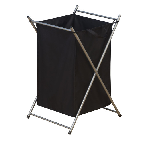 Household Essentials Satin Silver Laundry Hamper with Lift-Out Bags
