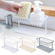 Kitchen Sink Caddy, Sponge Holder, Kitchen Sink Tidy Holder, Sink Organizer, Brush Soap Holder Sink Tray Drainer Rack, ABS Plastic Sink Caddy with Removable Drain Pan, Two-layer Rack Sink Basket