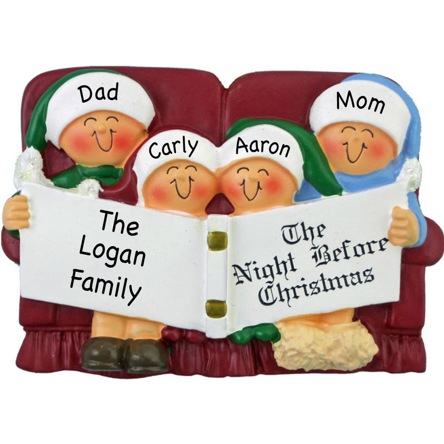 Personalized Christmas Ornament - Couch Family of 4