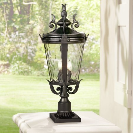 Patio Post Mount Natural - John Timberland Traditional Outdoor Post Light with Pier Mount Textured Black 29