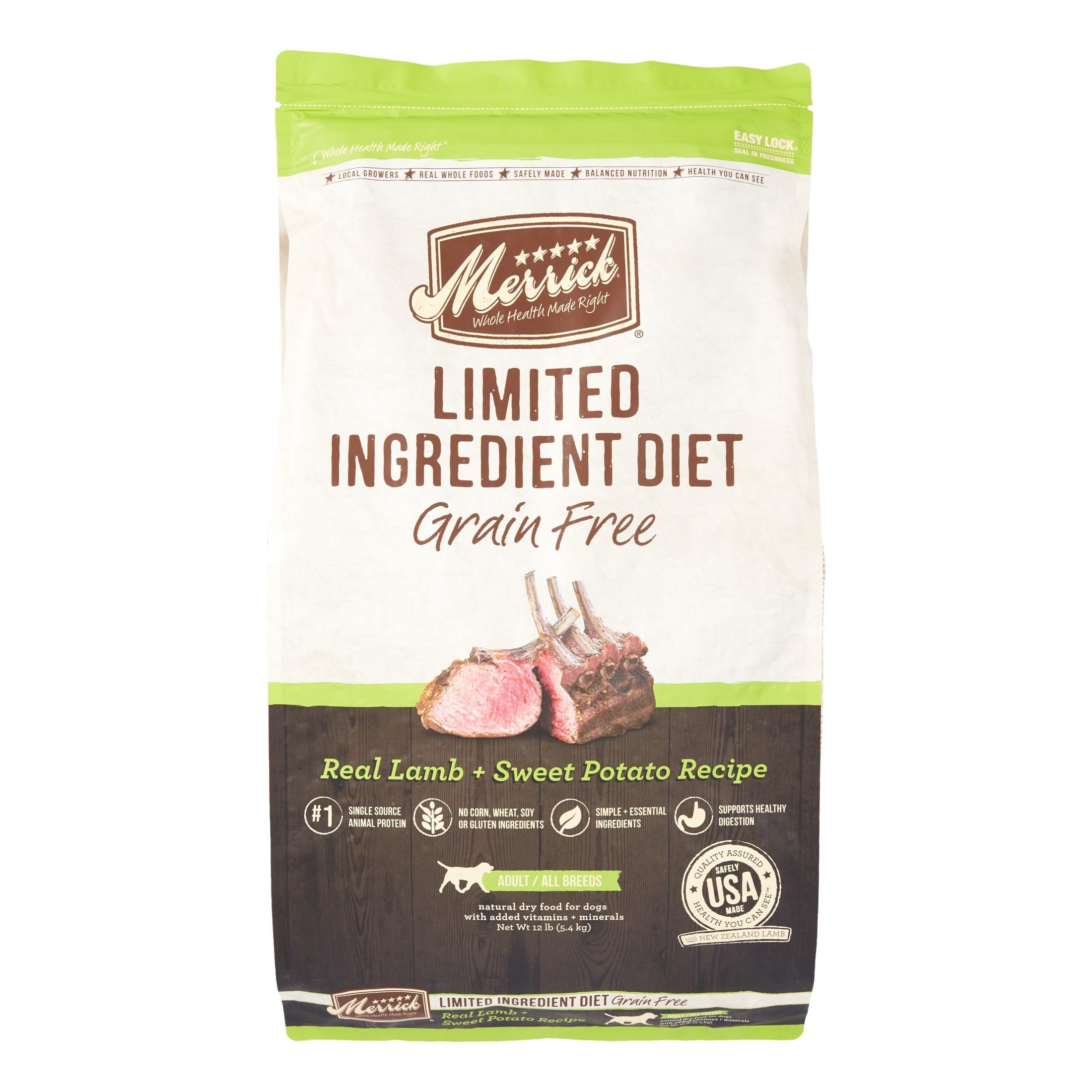 Merrick Limited Ingredient Diet Grain-Free Real Lamb & Sweet Potato Recipe Dog Food, 12 Lb