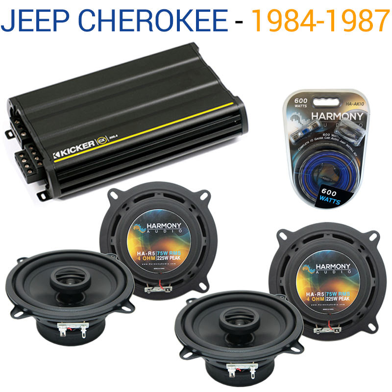 Jeep Cherokee 1984-1987 OEM Speaker Replacement Harmony (2) R5 & CX300.4 Amp Factory Certified Refurbished by Harmony Audio