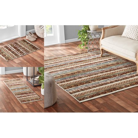 Mainstays 3 Piece Multi Stripe Rug Set