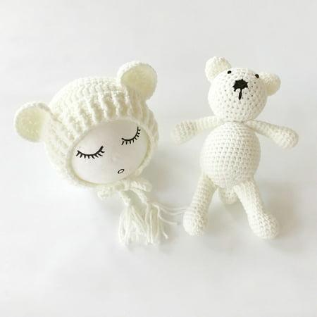 Knit Baby Hat - Newborn Baby Girls Boys Photography Prop Crochet Knit Costume Bear Hat Cap
