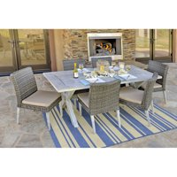 Incadozo 7 Piece Hardwood and All-Weather Wicker Patio Dining Set, Antique Gray Wash