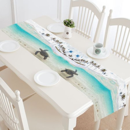 MYPOP Summer Beach Sea Turtle Table Runner Placemat 16x72 inches, Tropical Palm Tree Tablecloth for Office Kitchen Dining Wedding Party Home Decor