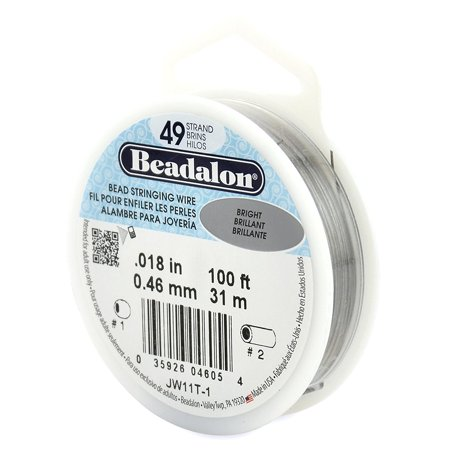 49-Strand Bead Stringing Wire, 0.018-Inch, Bright, 100-Feet, Stated size is Medium By -