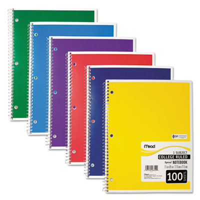 Spiral Bound Notebook, Perforated, College Rule, 11 x 8, White, 100 Sheets, Sold as 1 Each
