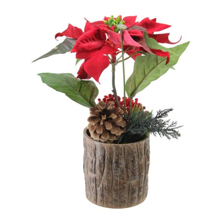 """10"""" Artificial Poinsettia with Pine Cone and Berries Decorative Potted (Cone Bearing Plants)"""