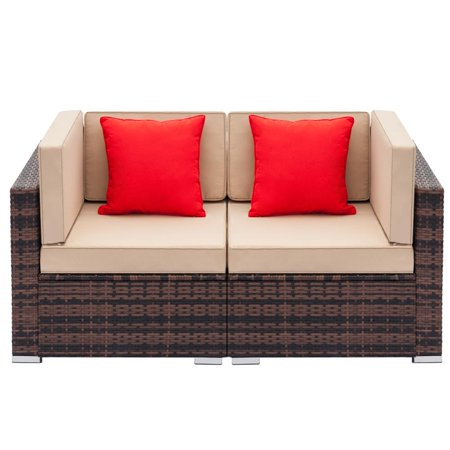 Zimtown 2pcs Outdoor Patio Sofa Furniture Wicker Rattan Deck Couch Arm Single Sofa ()