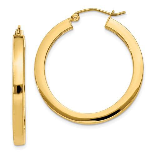 14k Yellow Gold 3mm Polished Square Hoop Earrings. 30mm Diameter.