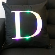 Magshion LED Light 26 Alphabet Letter Square Throw Pillow Case Cover D Black