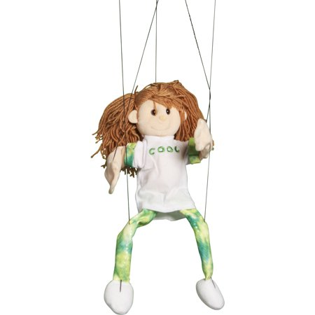 Sunny Toys WB1701 22 inch Brunette-Haired Girl In Green, Marionette People Puppet