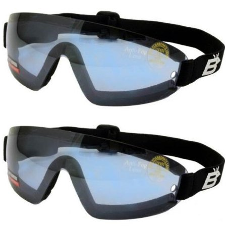 Peripheral Protection (2 Skydive Skydiving Goggles Reduced Glare Blue With Great peripheral vision design Lenses are shatterproof polycarbonate, 100% UV protection, and are ANTI-FOG coated)