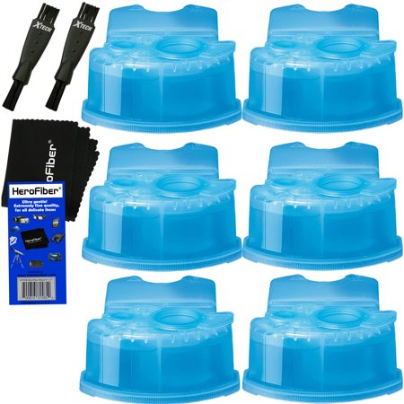 Ultra Series Ends (Braun Clean & Renew Refill Cartridges, Replacement Cleaner, Cleaning Solution (6 pack) for Series 3, Series 5, Series 7 & Series 9 + Double Ended Shaver Brush + HeroFiber Ultra Gentle Cleaning Cloth)