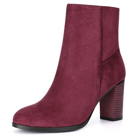 Women Round Toe Stacked Block Heel Ankle Booties Burgundy US 9 - image 7 of 7