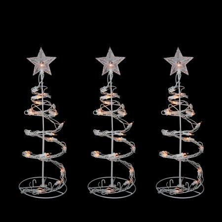 """Northlight 3pc Set of 18"""" Prelit Artificial Christmas Trees Spiral Walkway Outdoor Decorations - Clear Lights"""