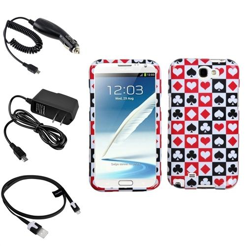 Insten Card Suits Hard Case 2x Charger 3x USB Cable For Samsung Galaxy Note 2 II