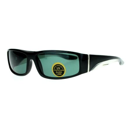 SA106 Glass Lens Rectangular Mens Plastic Frame Thick Arm Sunglasses Black Clear