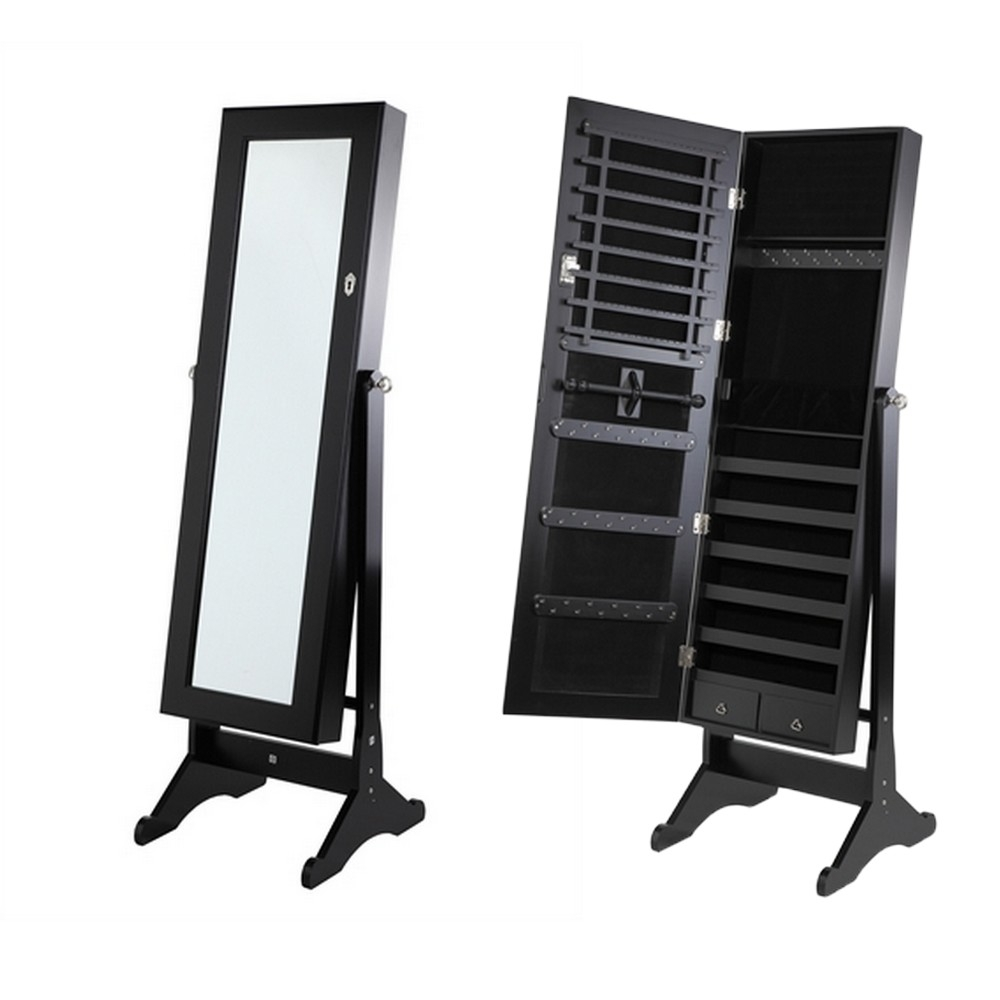 Homegear Mirrored Jewelry Cabinet With Stand Armoire Organizer Storage Black