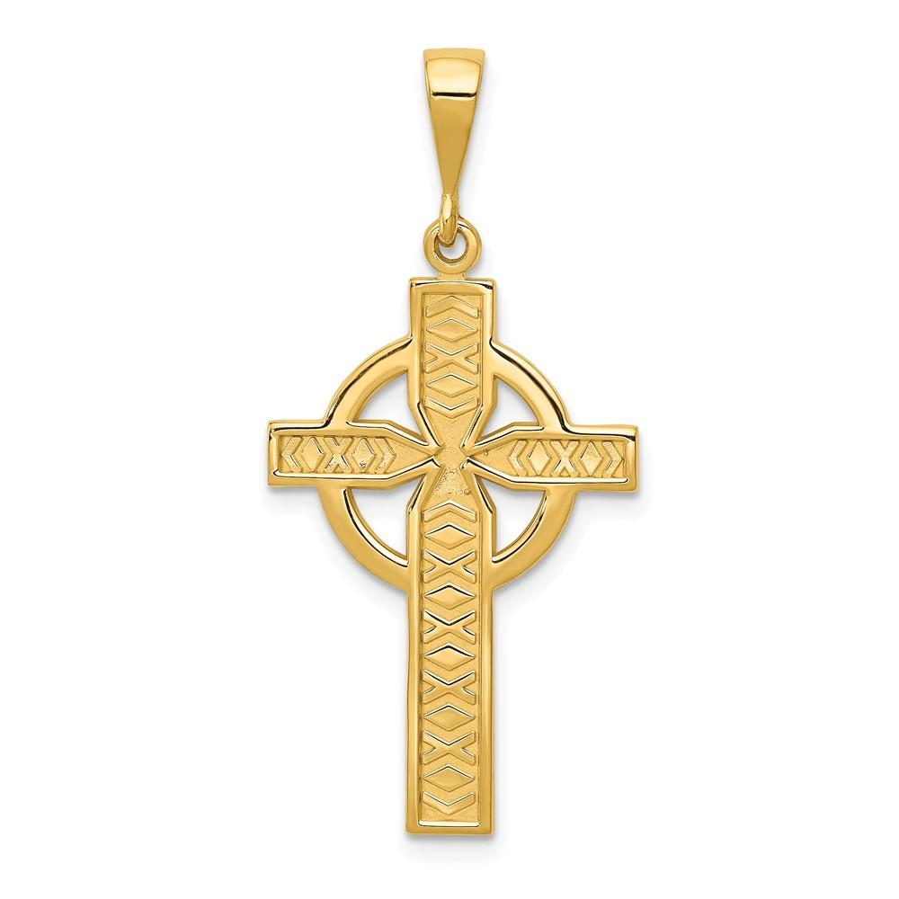 14k Yellow Gold Celtic Cross Charm (1.2in long x 0.4in wide)
