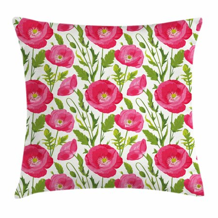 Inspiration Bouquet - Poppy Throw Pillow Cushion Cover, Leaves and Petals Watercolor Flowers Bouquet Romance Inspiration Valentines Day, Decorative Square Accent Pillow Case, 18 X 18 Inches, Green Pink Cream, by Ambesonne