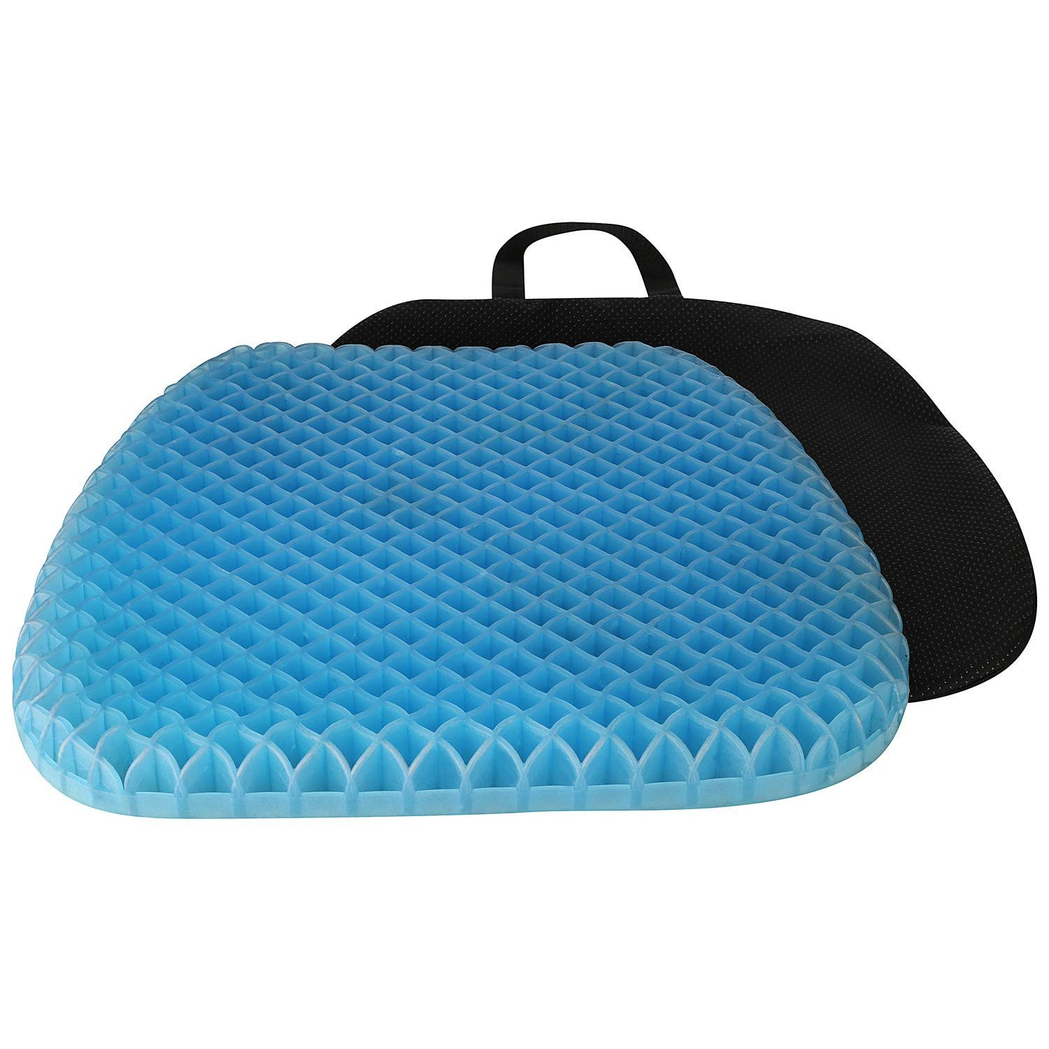 FOMI Thick Premium All Gel Orthopedic Seat Cushion | Large Comfortable Pad for Car, Office Chair, Wheelchair, or Home | Pressure Sore Relief, Prevents Sweaty Bottom | Durable, Portable