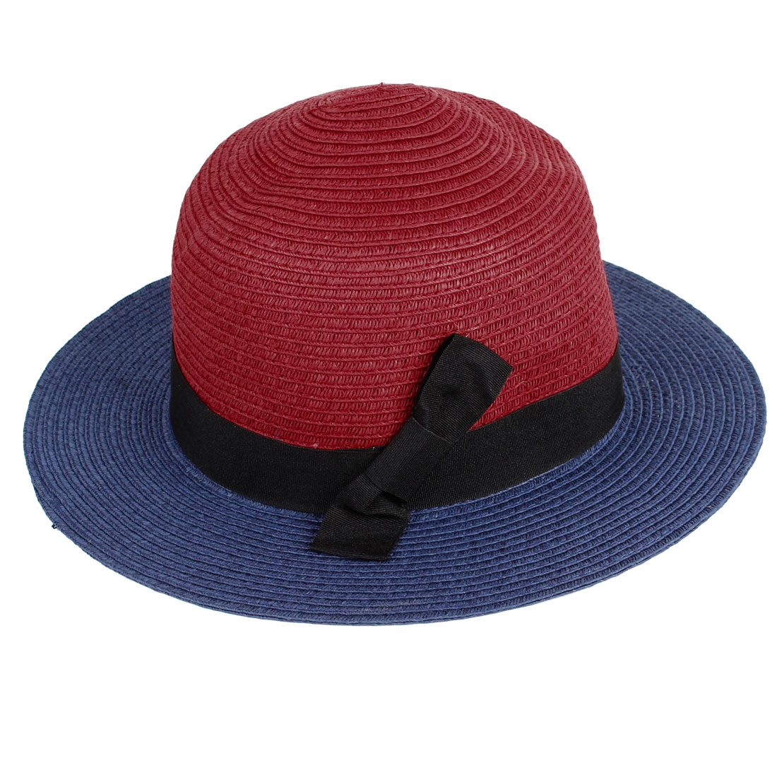 Women Black Bow Tie Detail Band Stitching Brimmed Summer Beach Bucket Hat Cap