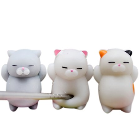 Stress Reliever Key - Outtop 3pcs Cute Mochi Squishy Cat Squeeze Healing Fun Kids Kawaii Toy Stress Reliever