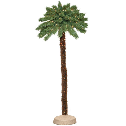 General Foam Plastics 6' Green Tropical Artificial Christmas Palm Tree with 150 Clear Lights