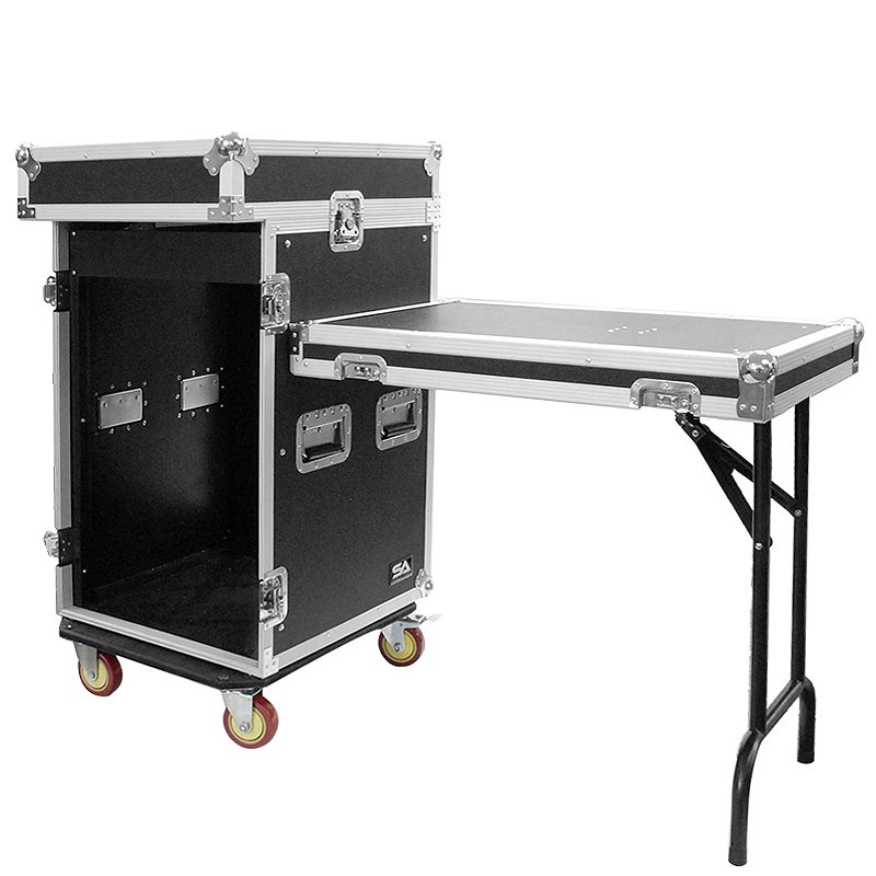 Seismic Audio 16 Space Rack Case with 10 Space Slant Mixer Top and DJ Work Table - 16U DJ Case - SAMRWT-16U
