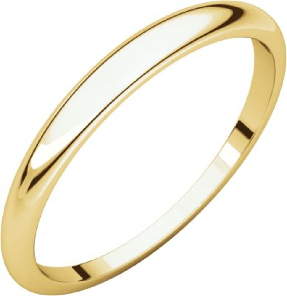 2.5mm Half Round Tapered Band in 18k Yellow Gold - Size 8.5