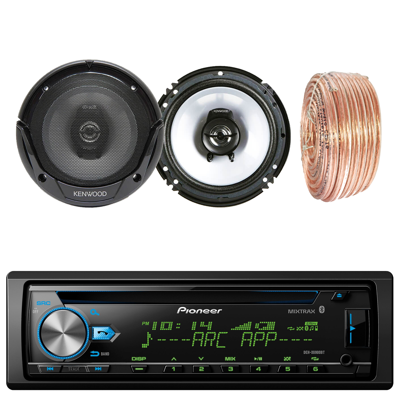"Pioneer DEH-X6900BT Car CD Player Receiver Bluetooth USB AUX Radio - Bundle Combo With 2x Kenwood KFC1665S 6.5"" 2-Way Black Car Coaxial Audio Speakers + Enrock 50 Ft 18 Gauge Speaker Wire"