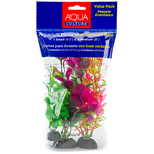Aqua Culture Aquarium Plants with Ceramic Base, 3 count