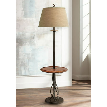 Empire Iron (Franklin Iron Works Rustic Floor Lamp with Table Wood Twisted Iron Base Linen Empire Shade for Living Room Reading Bedroom)
