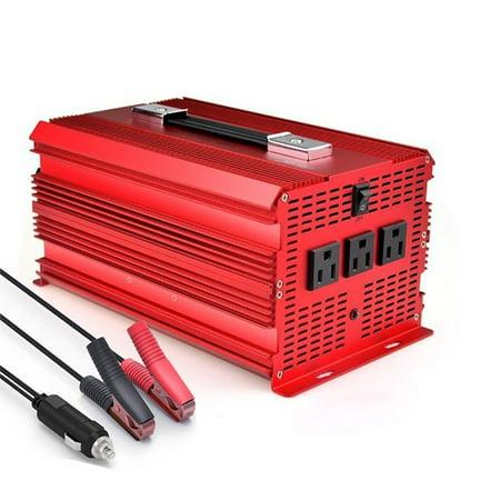 BESTEK 2000W Car Power Inverter with 3 AC Outlets,Car Battery Clip & Car Cigarette Lighter Adaptor ()